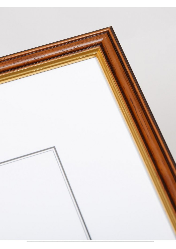 Brown & Gold Wooden Picture Frame 19mm - A2 / A3 / A4 / 14x20cm
