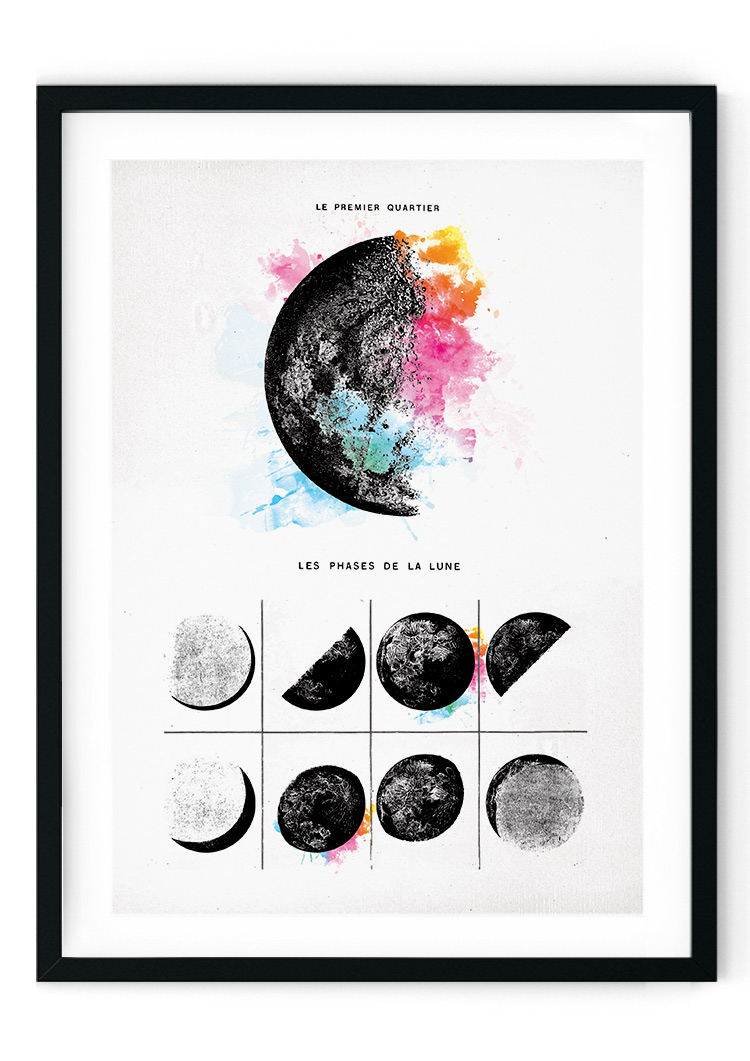 Moon Phases Colour Splash Giclee Print