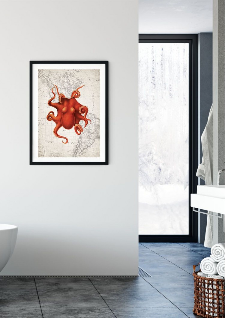 Octopus Map Giclee Print