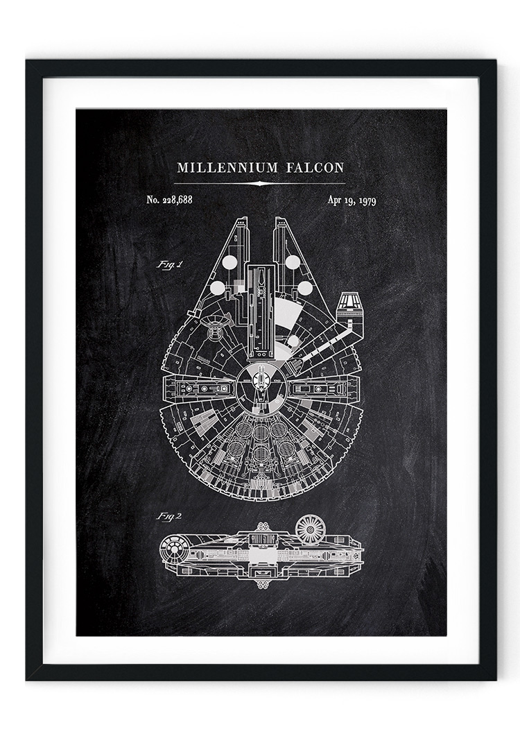 Millennium Falcon Chalkboard Patent Giclee Print