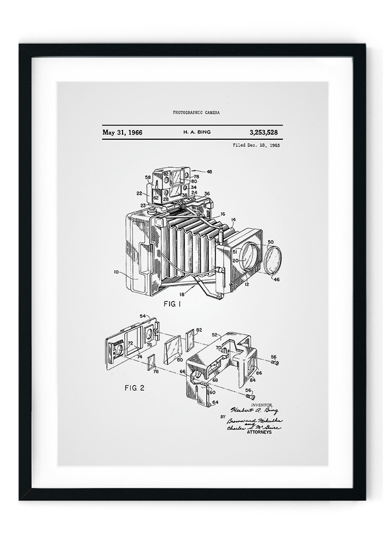 Vintage Camera Patent Giclee Print