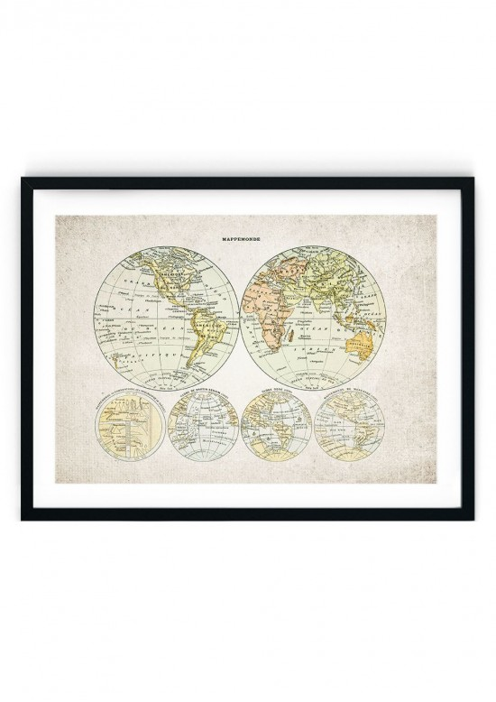 1800s World Map Giclee Print